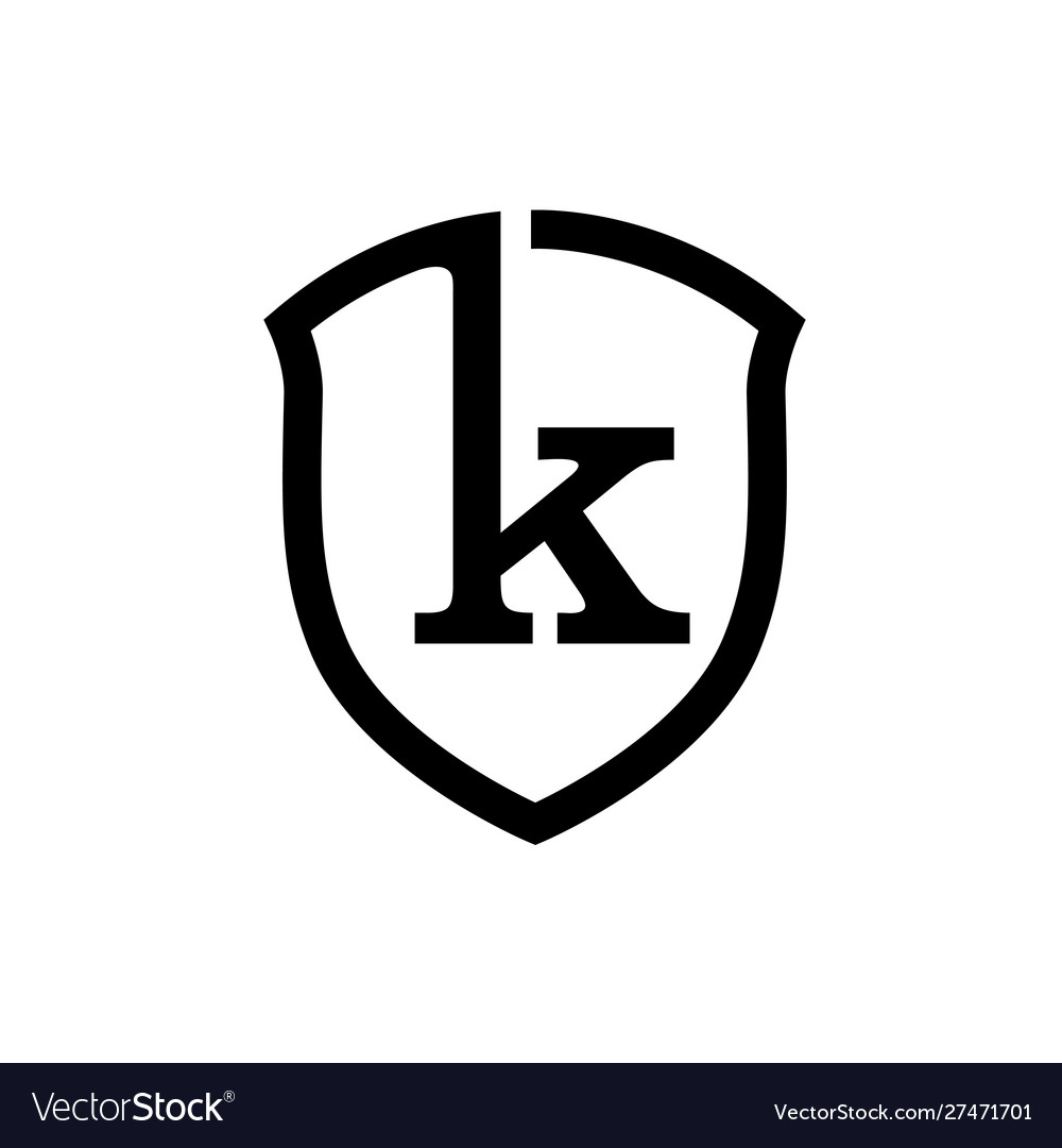 Creative simple shield letter k logo