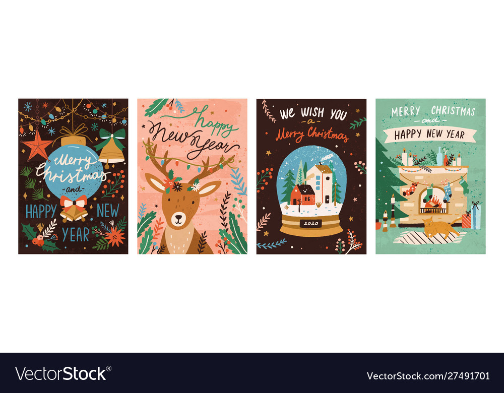 Festive xmas greeting cards templates set