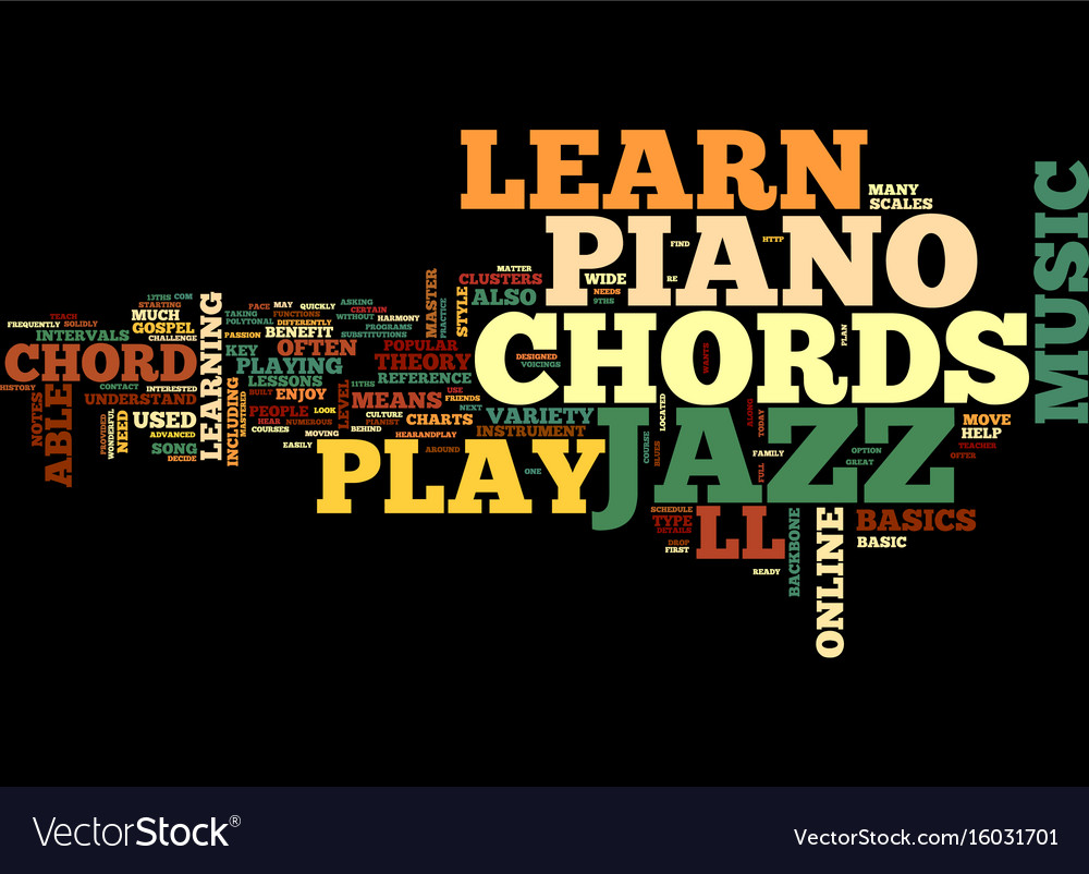 Learn popular jazz piano chords online text