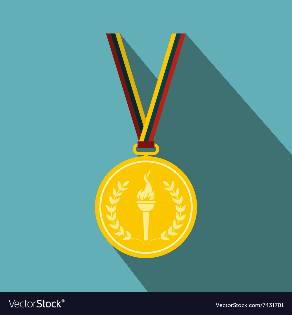 Medal with burning torch on a color ribbon