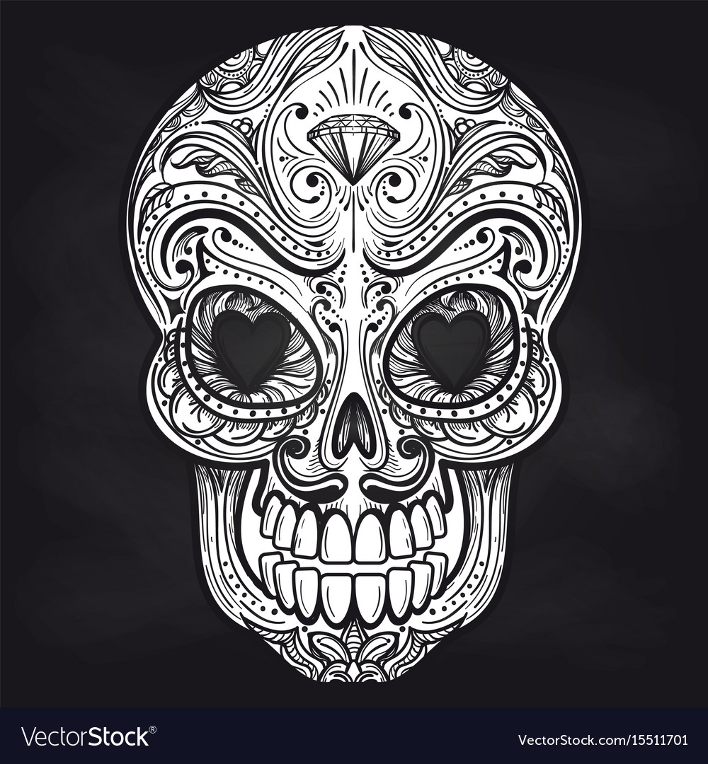 mexican skull on chalkboard background royalty free vector