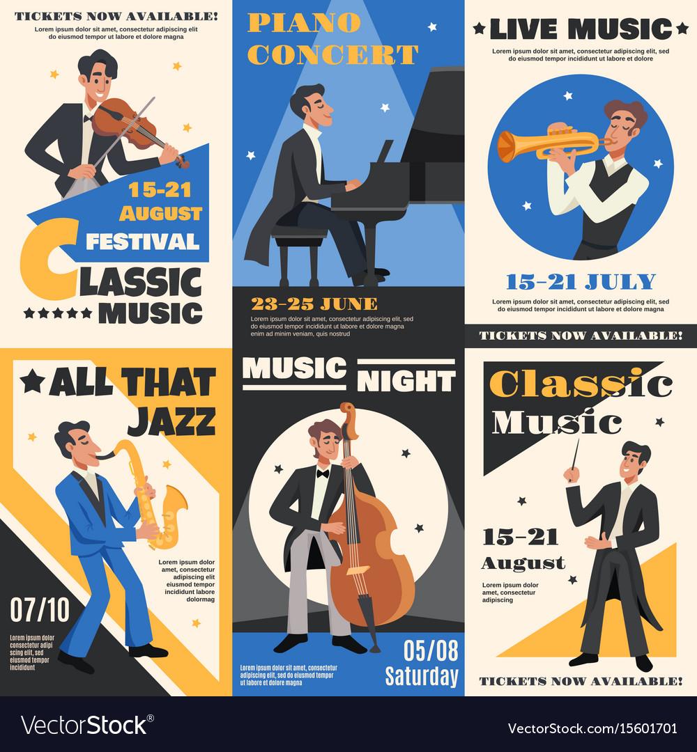 Musician poster banner set vector image