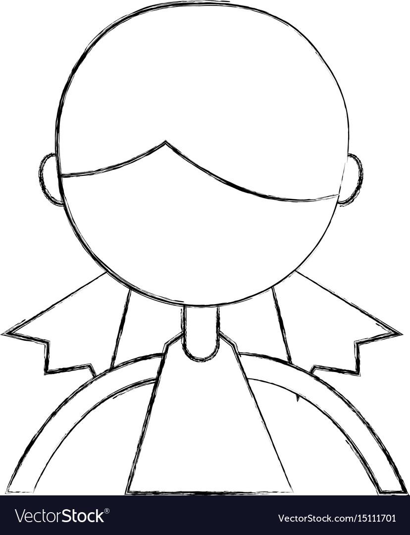 Sketch draw upper body girl cartoon