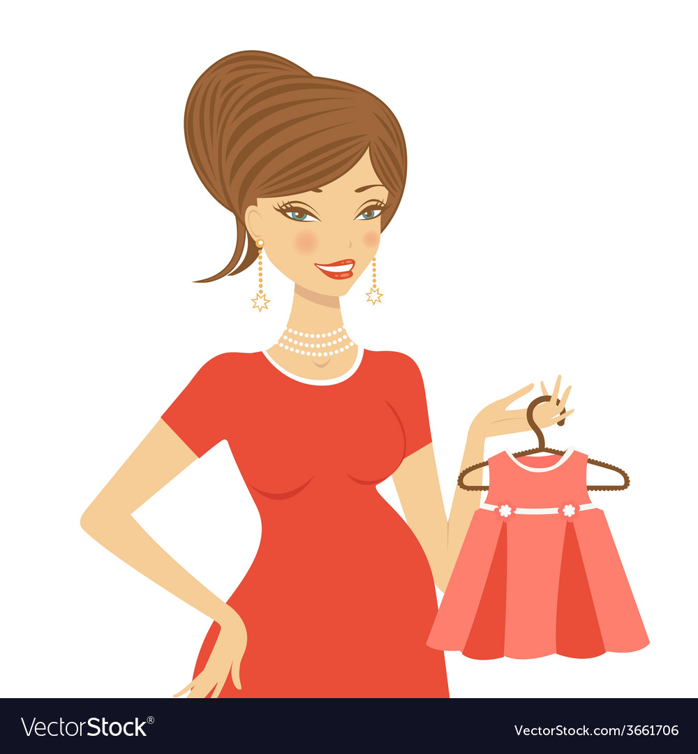 Beautiful mom to be holding dress