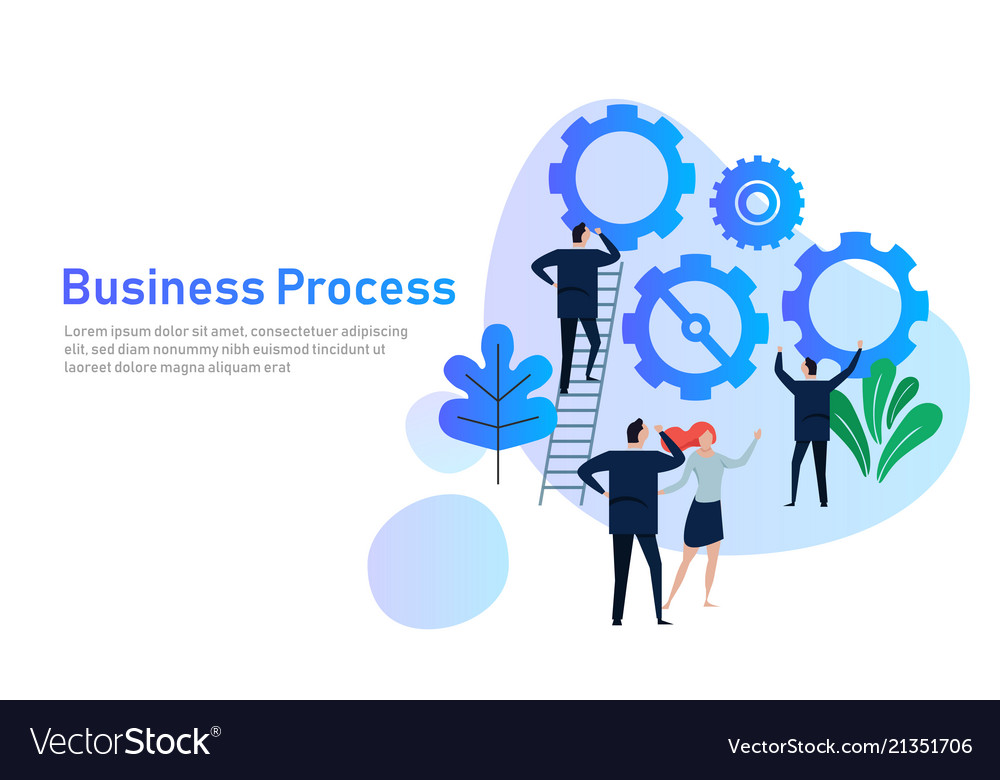 Business process flat design concept for team
