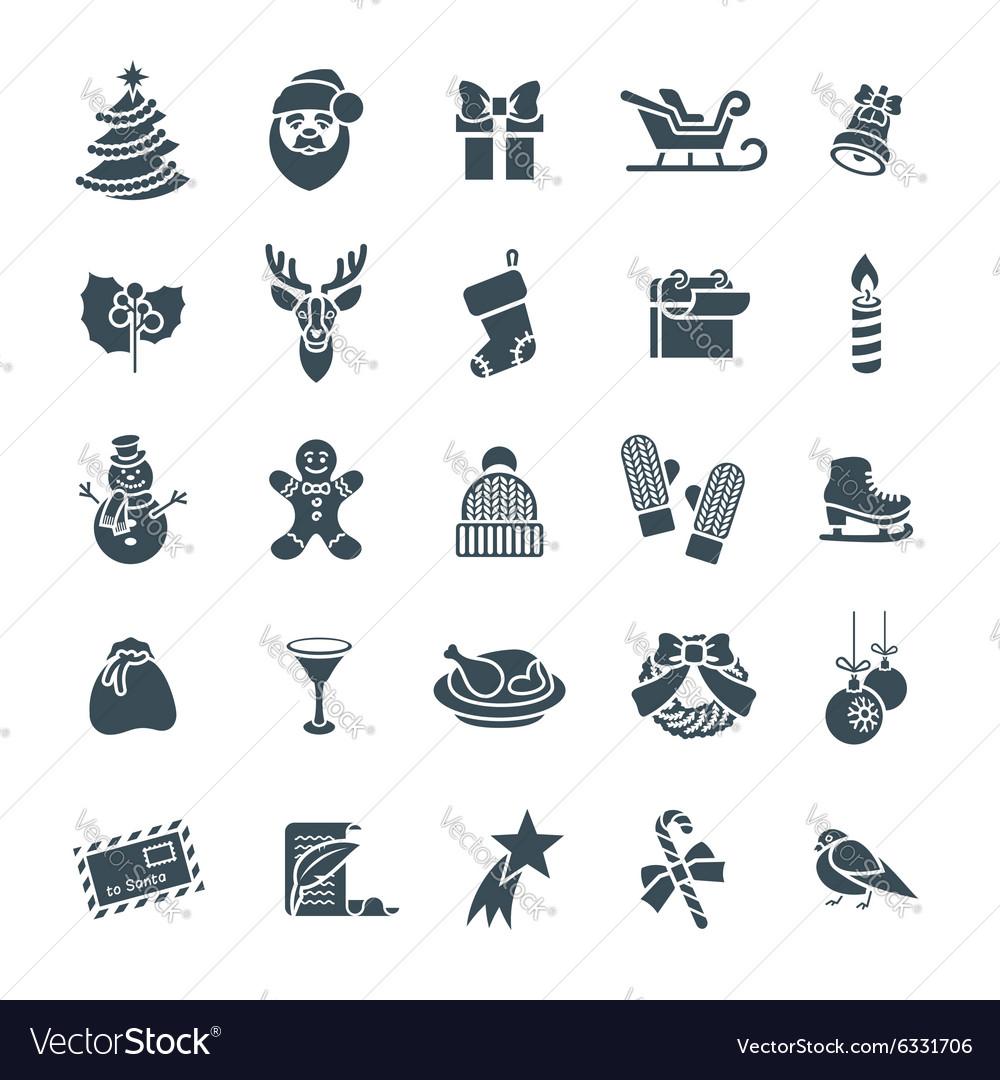 Christmas symbols flat silhouette icons set