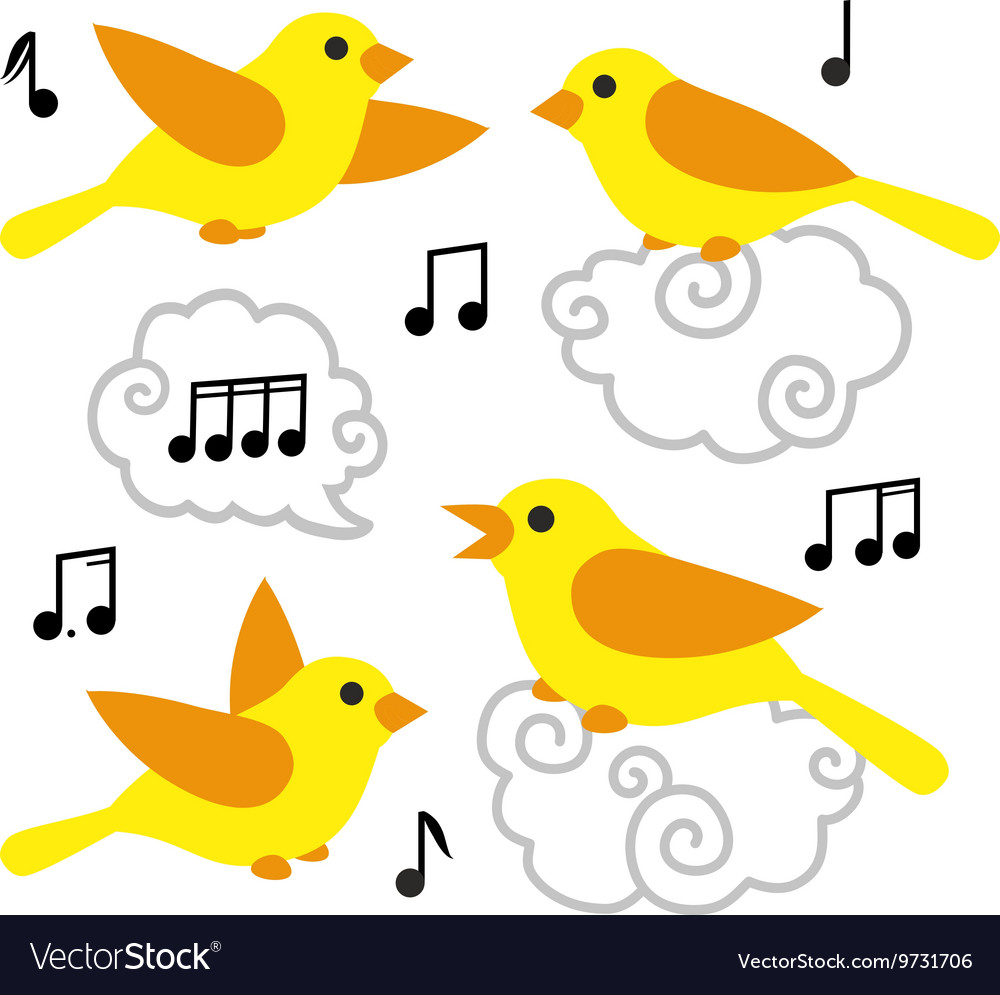 Collection of cute cartoon birds and notes in the