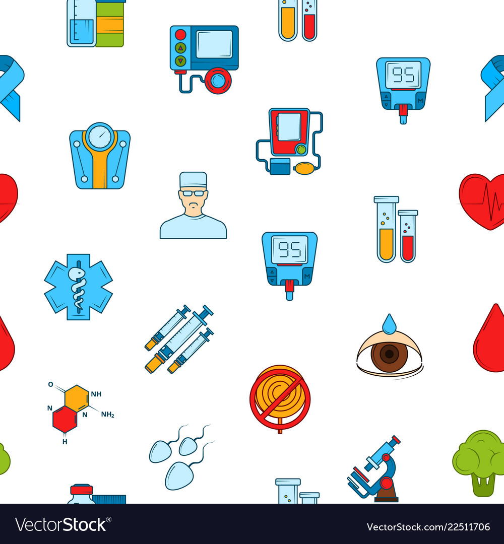 Colored diabetes icons pattern or