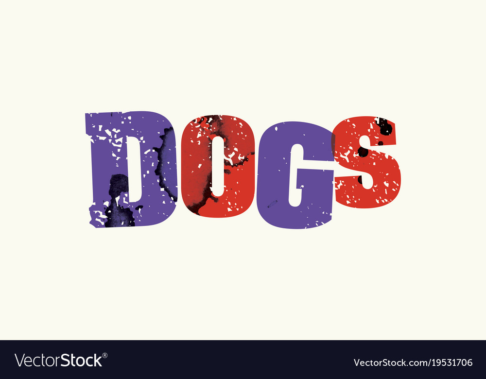 Dogs concept colorful stamped word