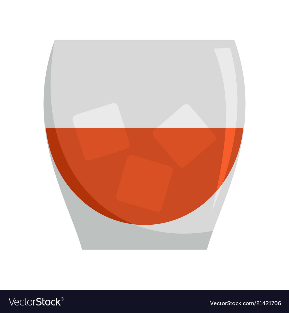 Glass of rum icon flat style