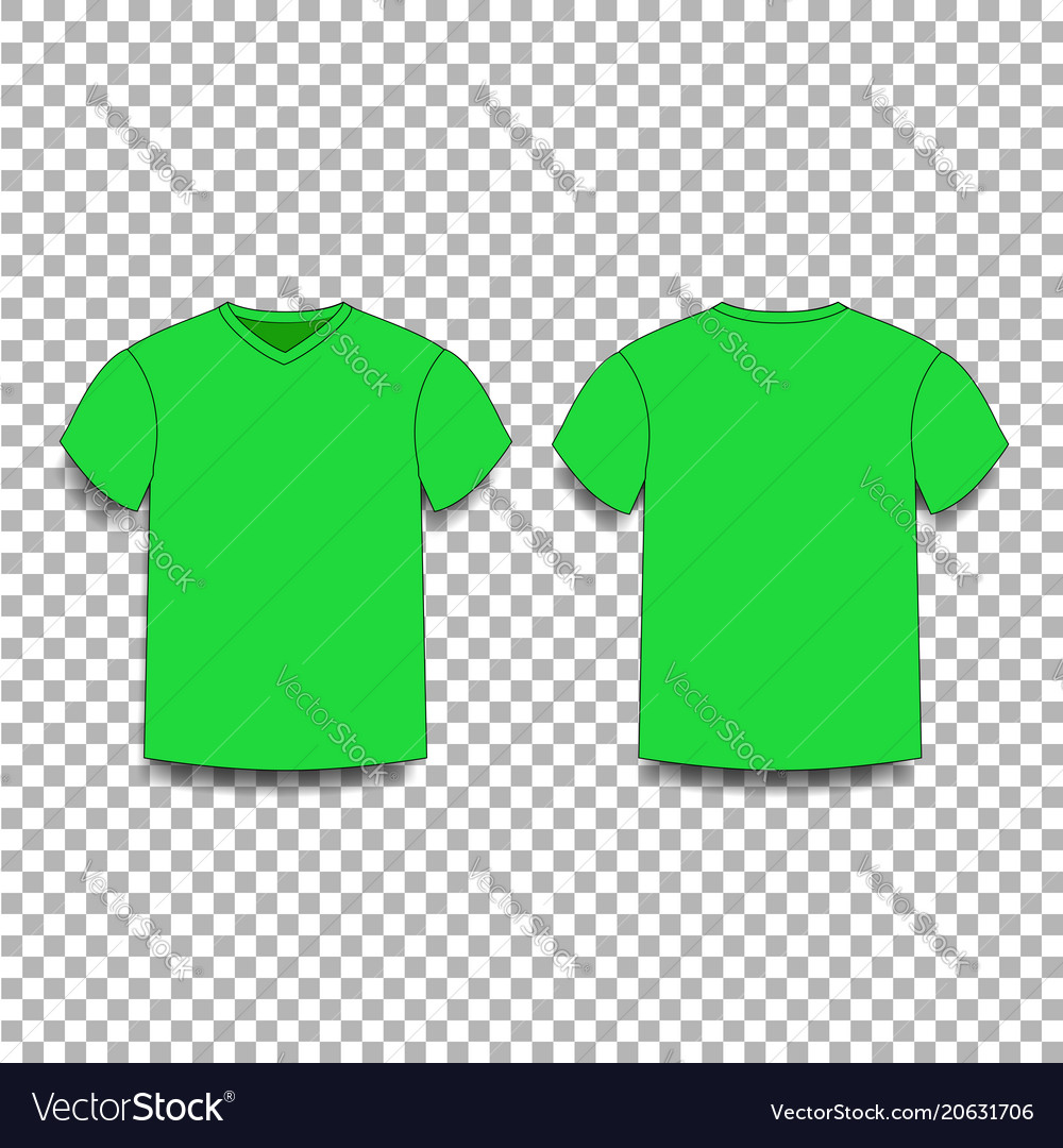 green men s t shirt template v neck front and vector image