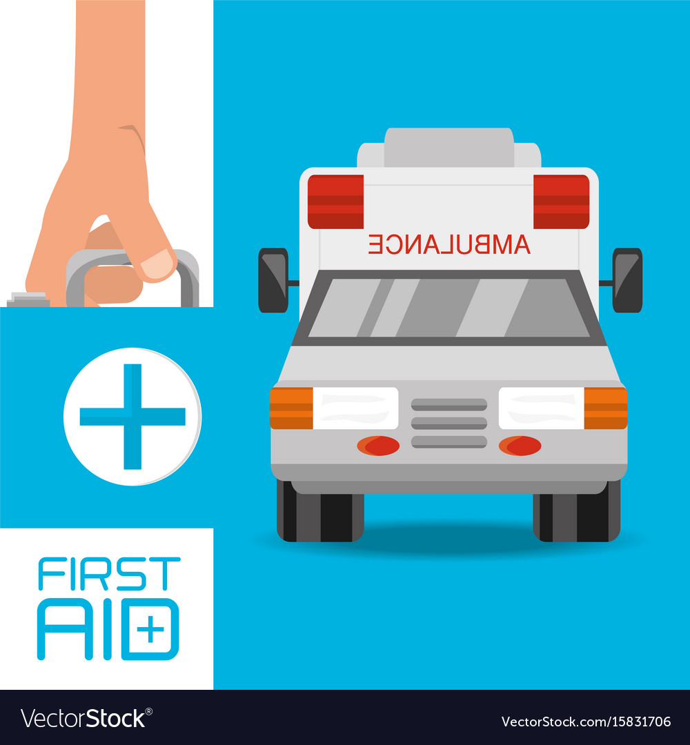 Hand with first aid kit suitcase and ambulance to