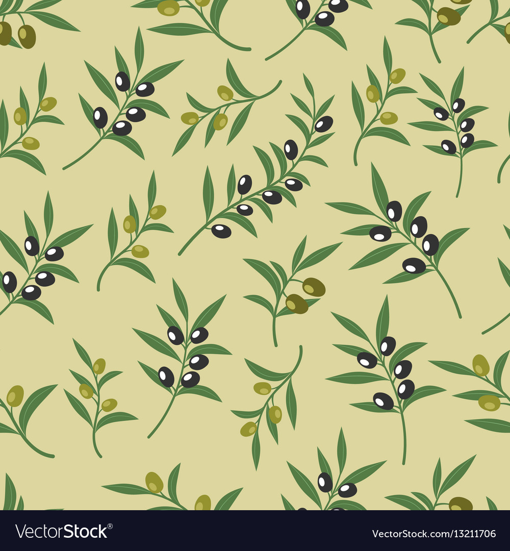 Olive seamless pattern with leaves olives