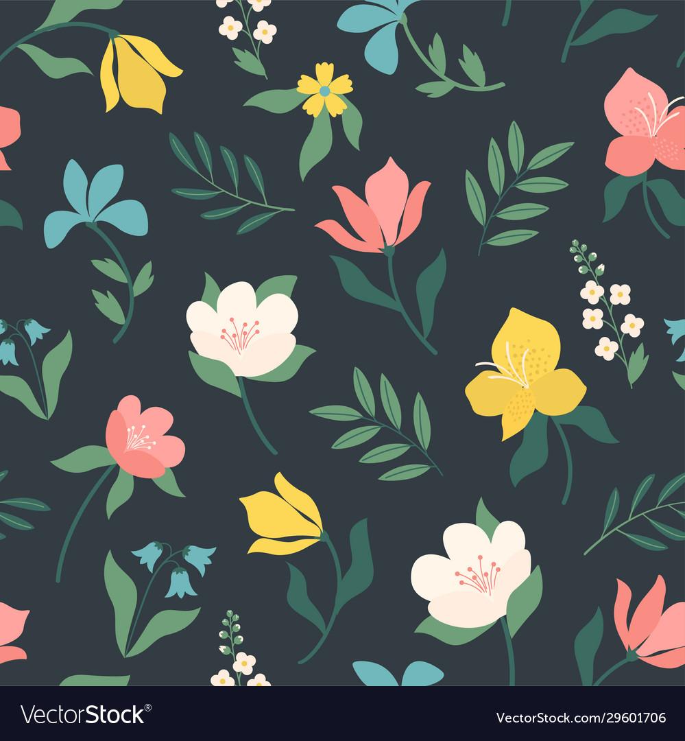 Seamless bright scandinavian floral pattern great