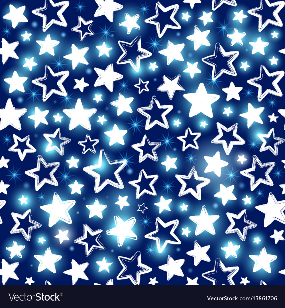Seamless pattern with shining stars on blue