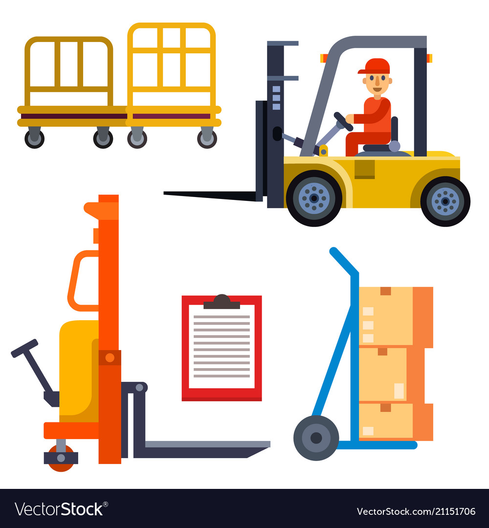 Warehouse worker shipping and delivery flat