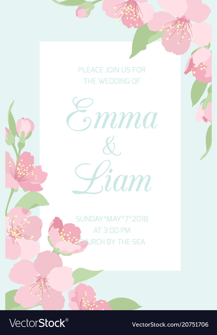 Wedding Invitations Template.Wedding Invitation Template Cherry Sakura Blossom