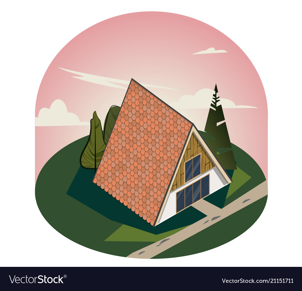 3d wooden triangular house with large windows