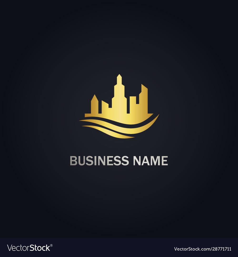 Building cityscape company gold logo