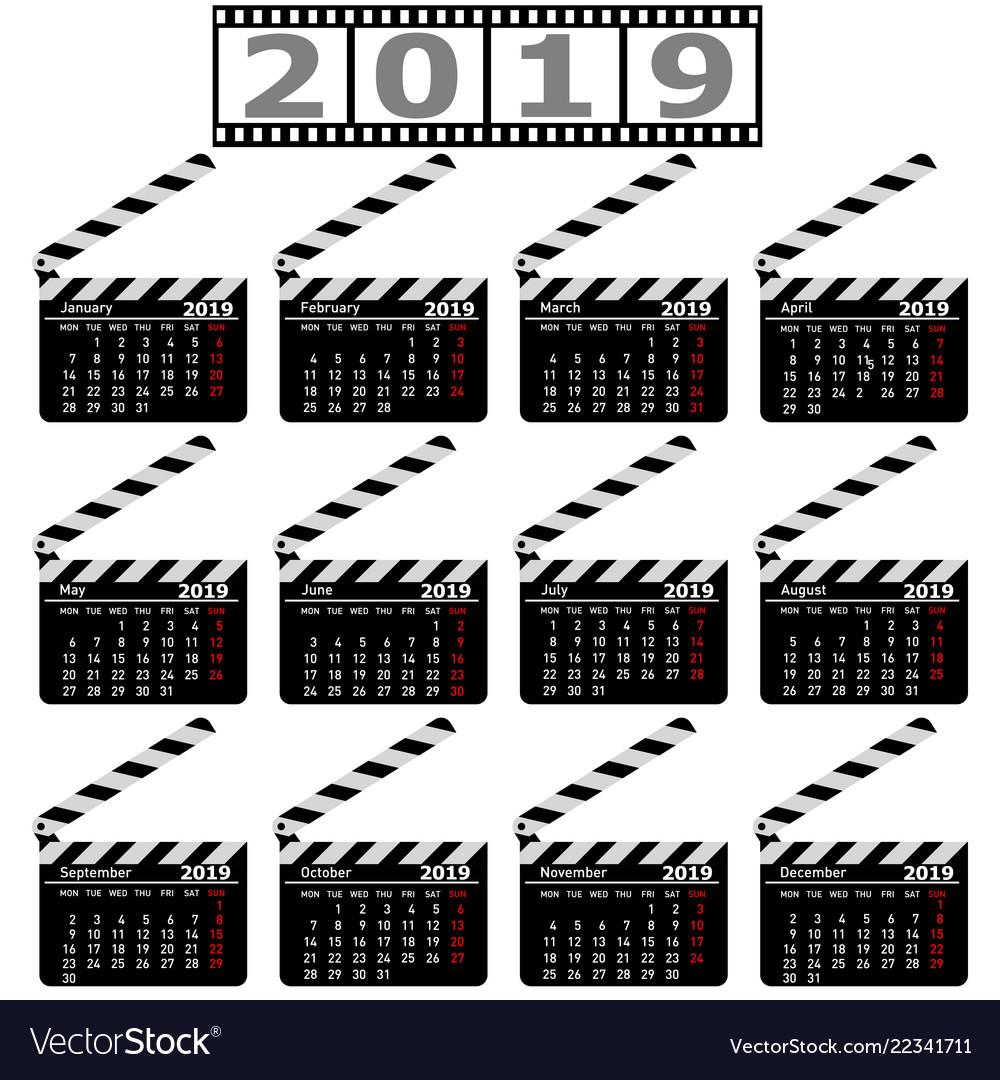 Calendar for 2019 movie clapper board on a white
