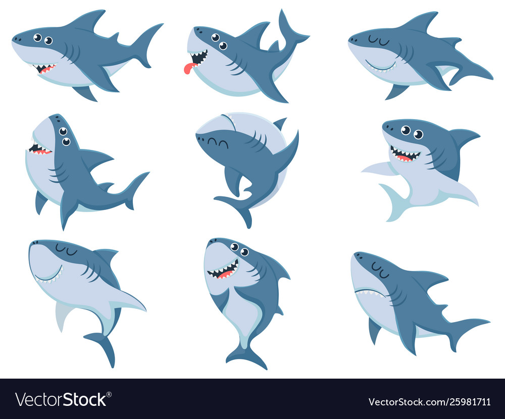 Cartoon sharks comic shark animals scary jaws