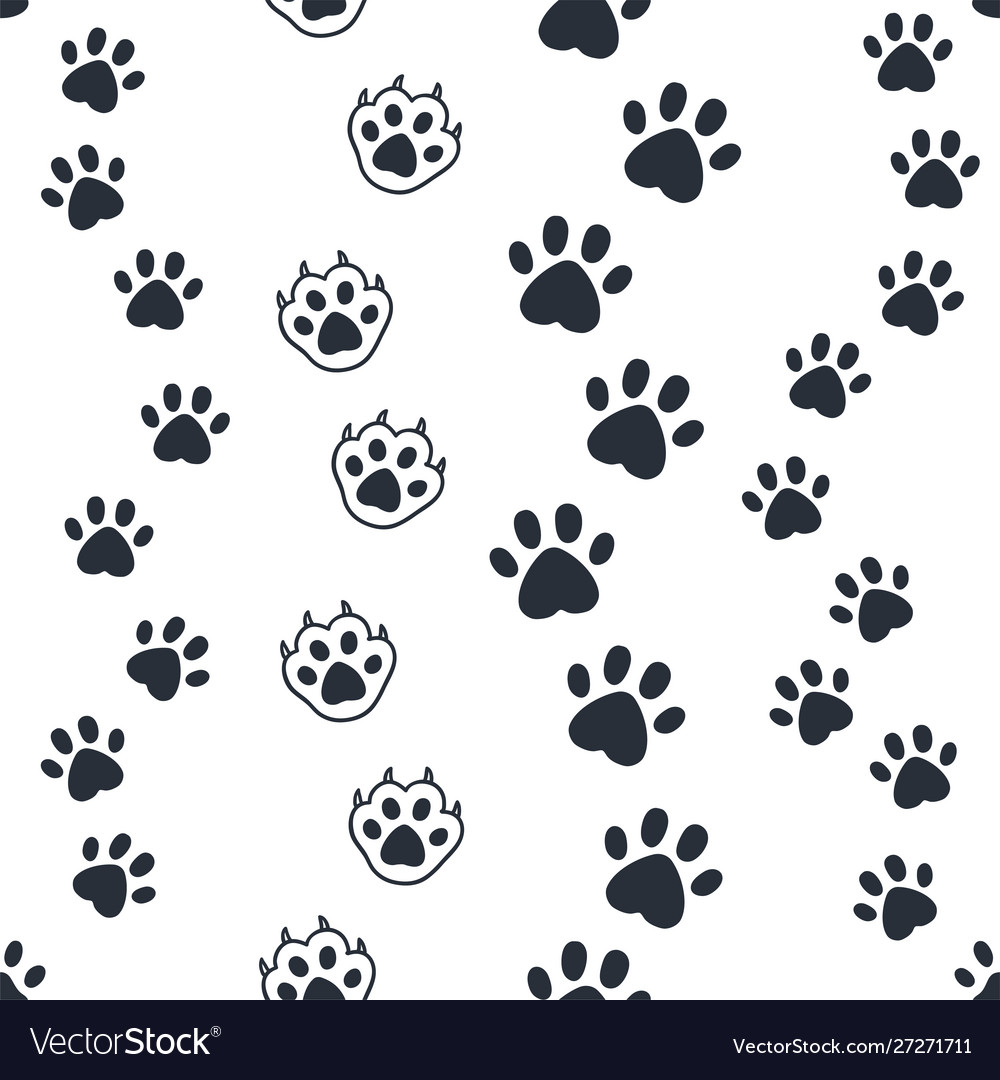 Cat paw pattern seamless dog foot print wild