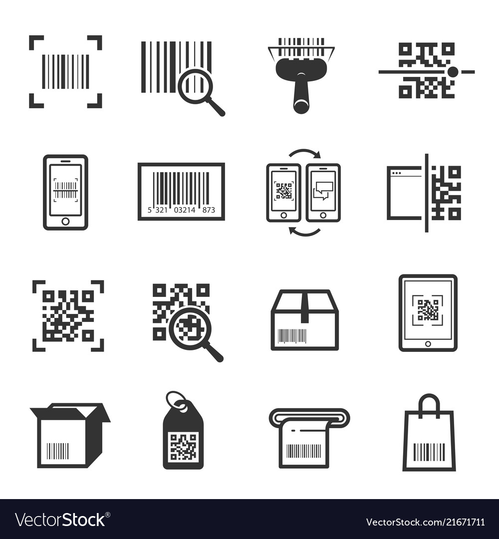 Code scanning icon set isolated from background