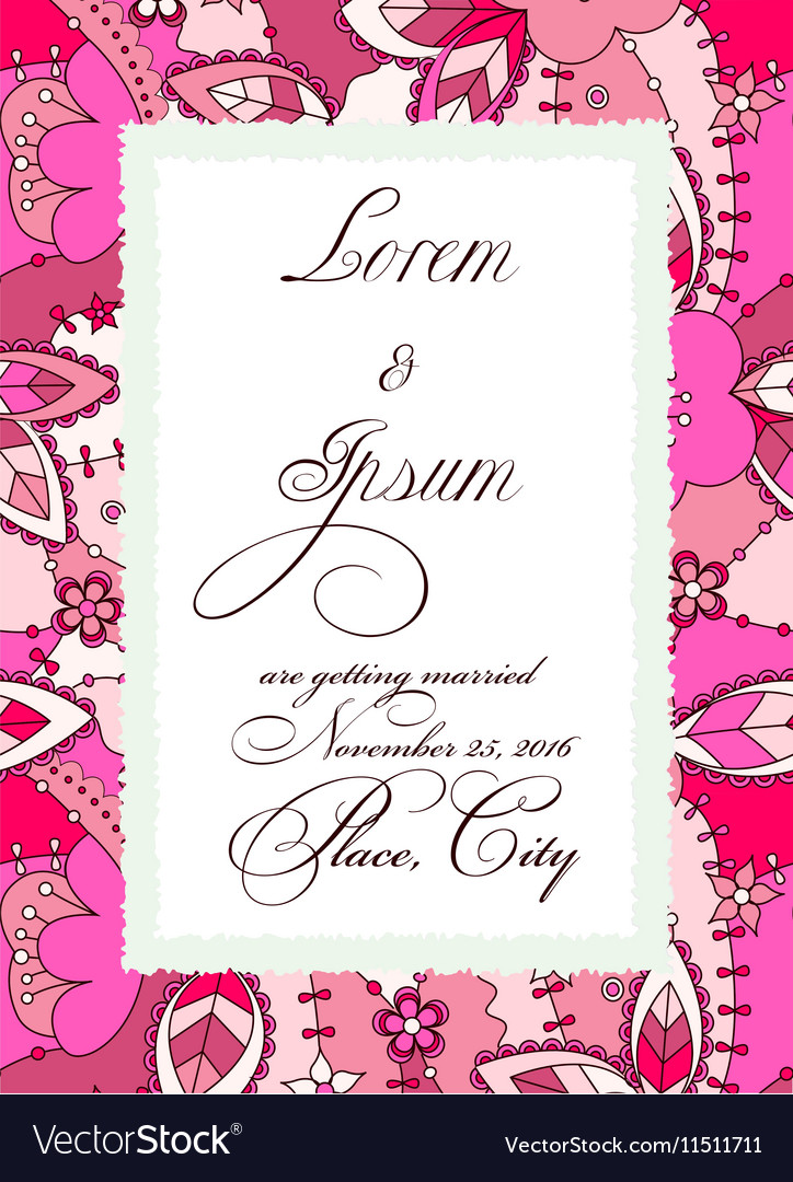colorful wedding invitation with torn paper banner