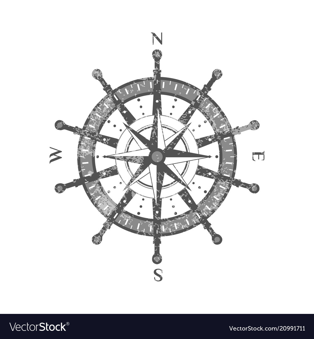 Detailed antique compass wind rose icon