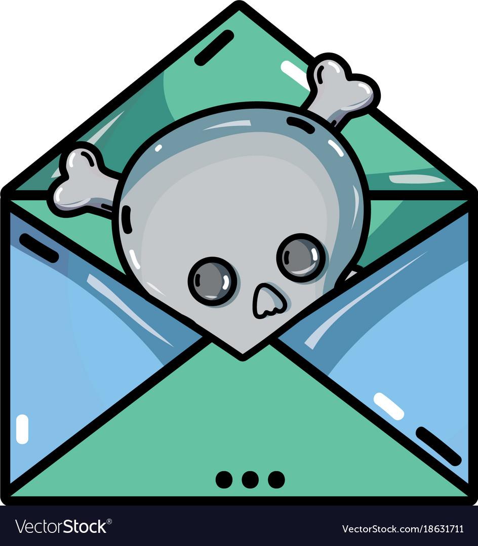 E Mail Letter Message With Danger Skull Virus Vector Image