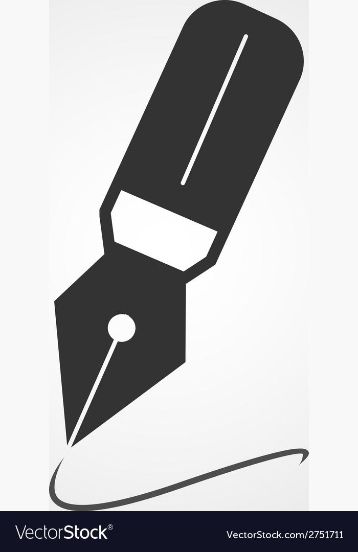 Fountain pen icon flat design vector image