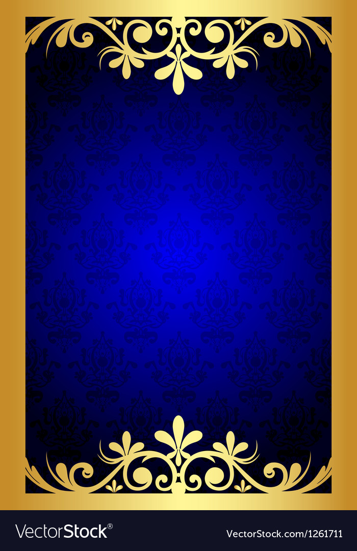 7b6e899017cb Gold and blue floral frame Royalty Free Vector Image