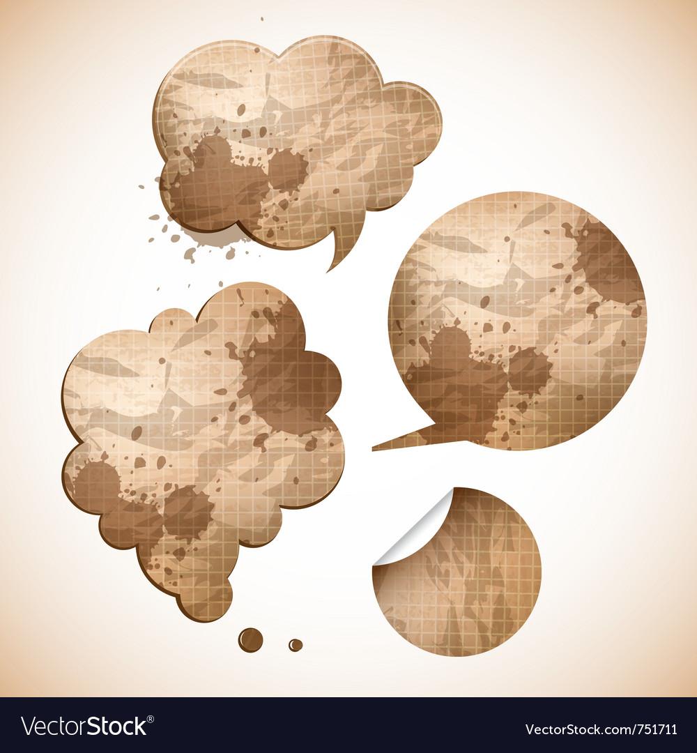 Grungy paper speak bubbles vector image
