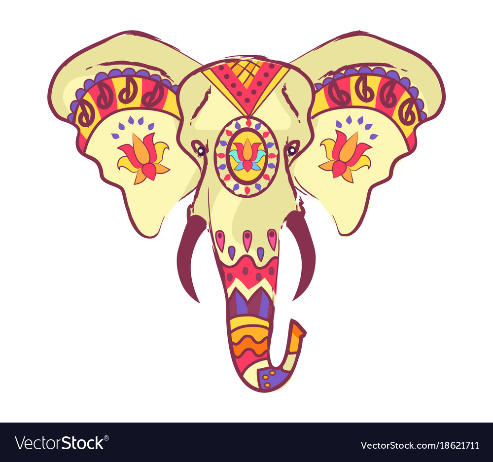 Indian elephant head with bright ethnic ornaments