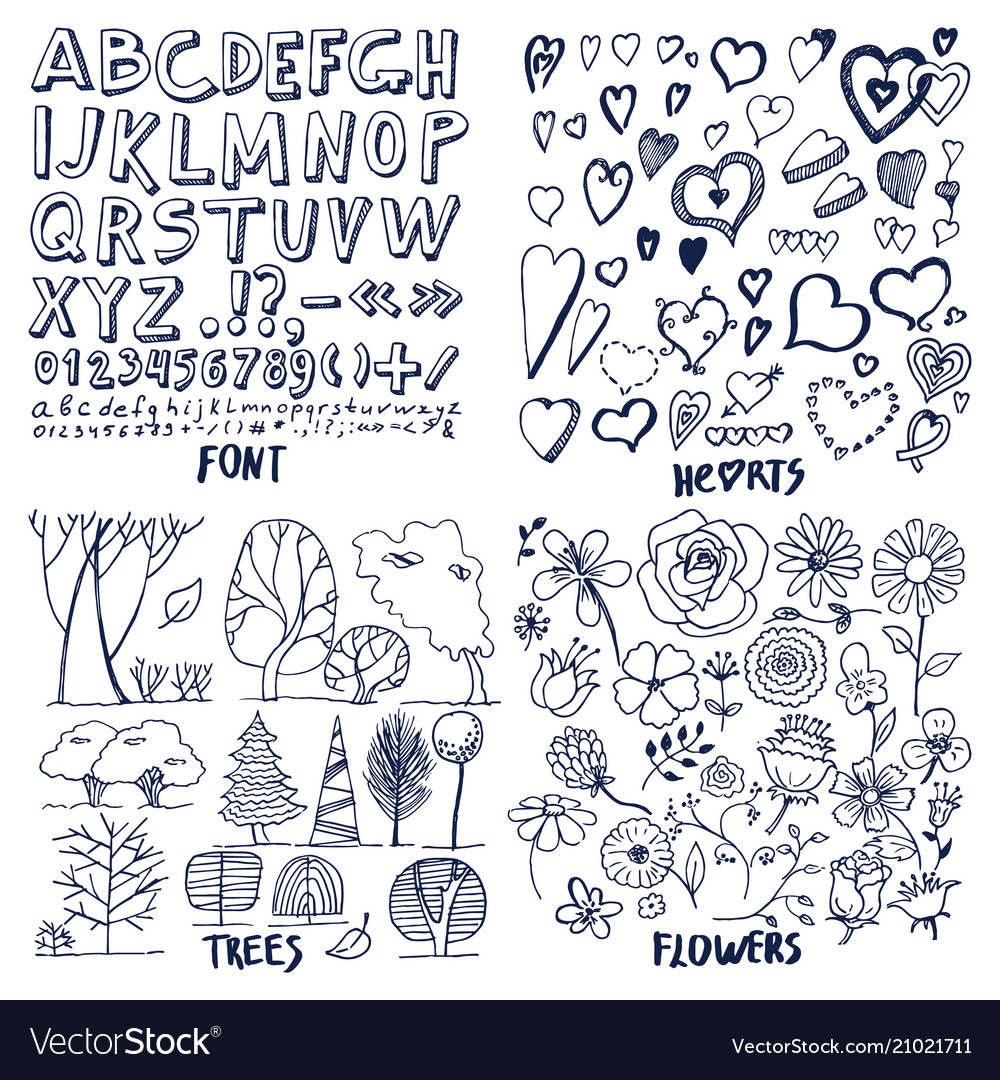 Lot of black flowers hearts trees and font sample