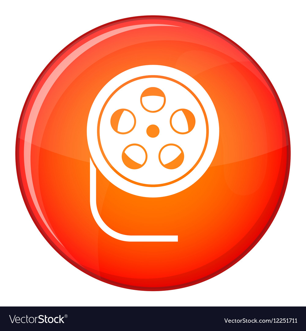 Reel with film icon flat style