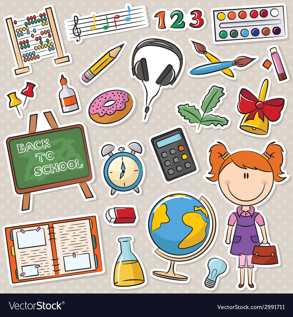 School girl with different education tools