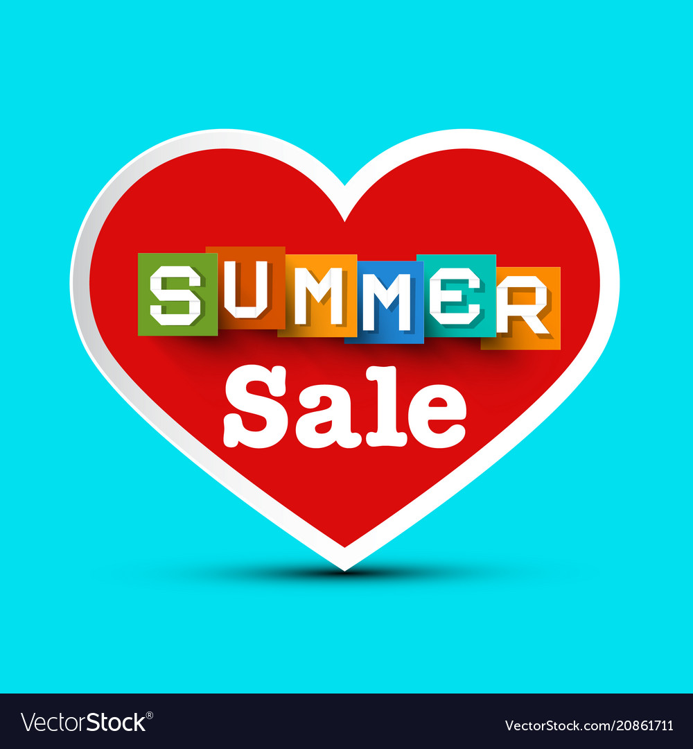Summer sale with red heart vector image