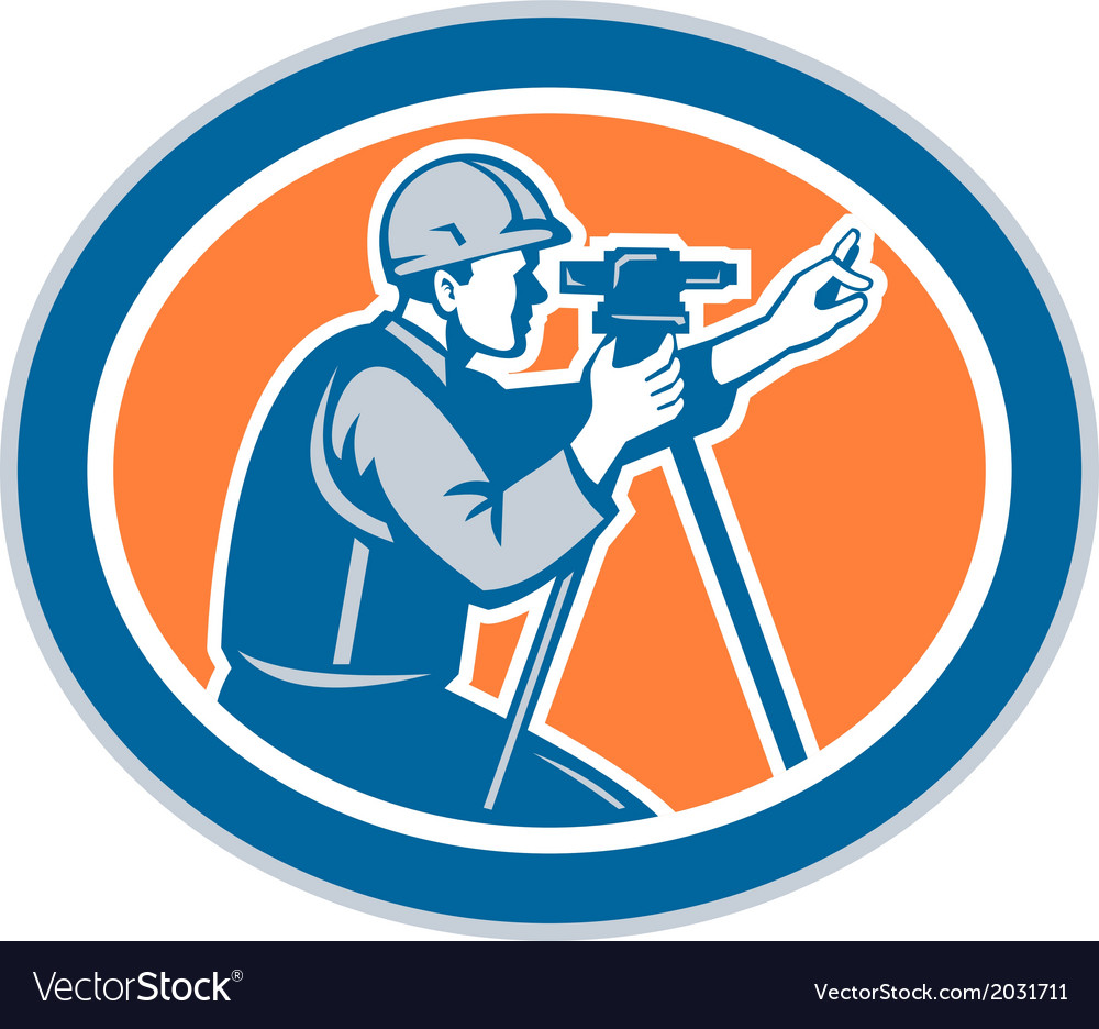 Surveyor Geodetic Engineer Total Station vector image