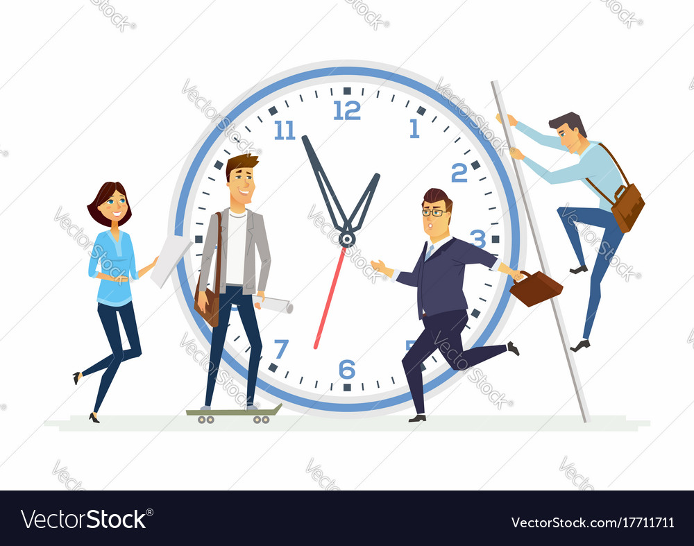 Time Management In A Company Modern Cartoon Vector Image