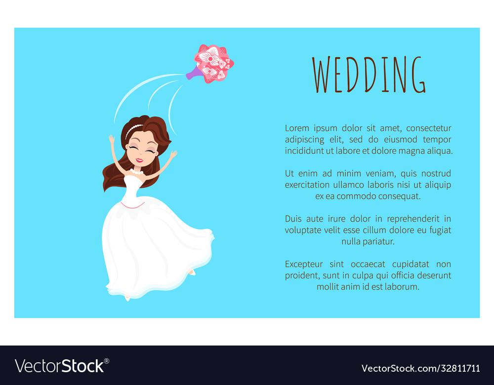 Wedding card bride in white dress throwing bouquet
