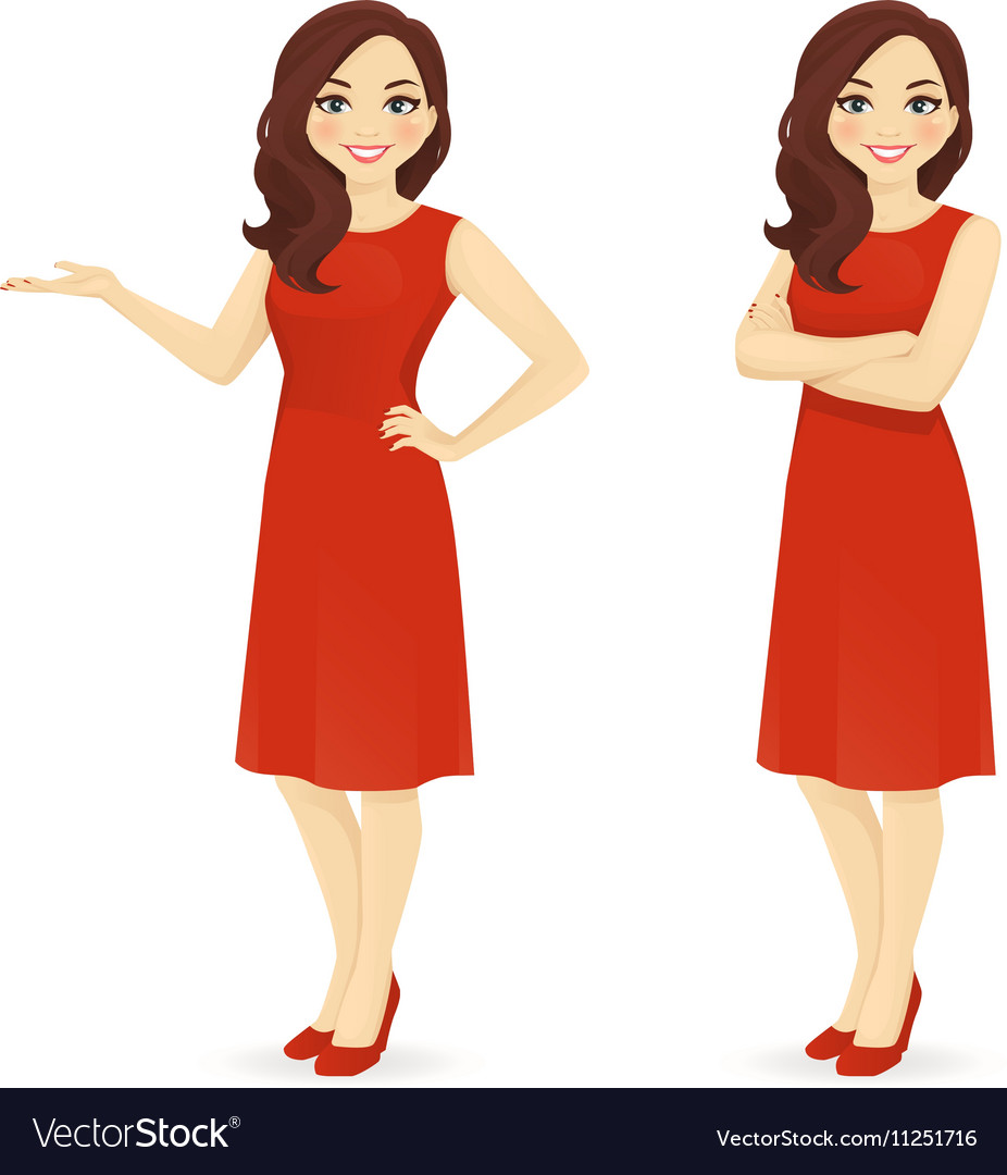 Beautiful woman in red dress vector image