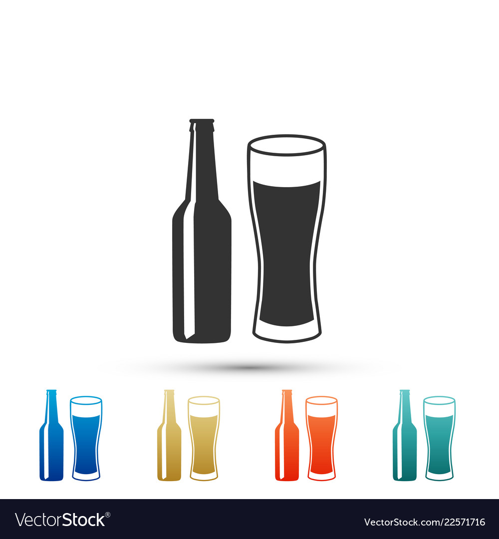 Beer bottle and glass icon on white background