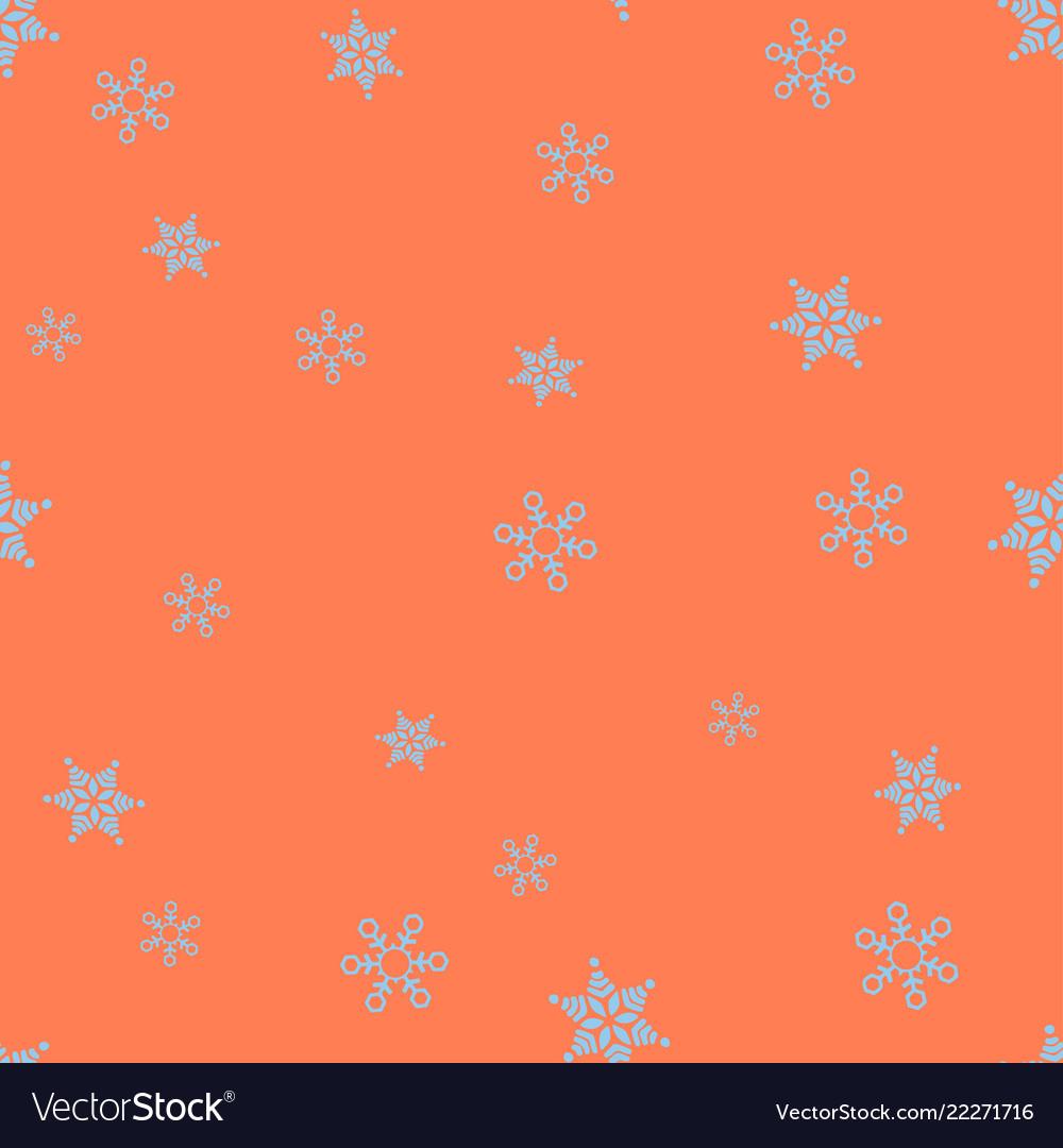 Blue snowflakes on a orange background seamless