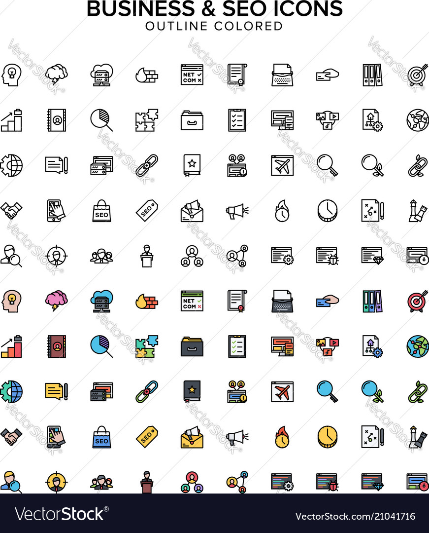 Business and seo outline colored icons