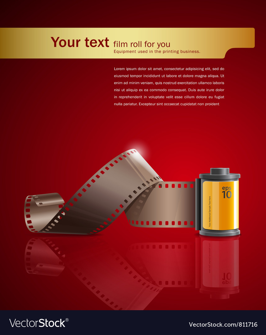 Camera film roll on red background vector image