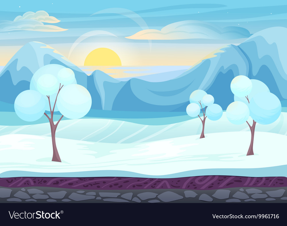 Cartoon winter game style landscape with with ice
