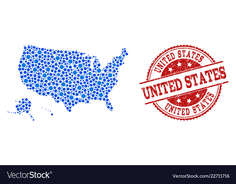 Us Map Photo Collage.Collage Map Of Usa Territories With Connected Dots