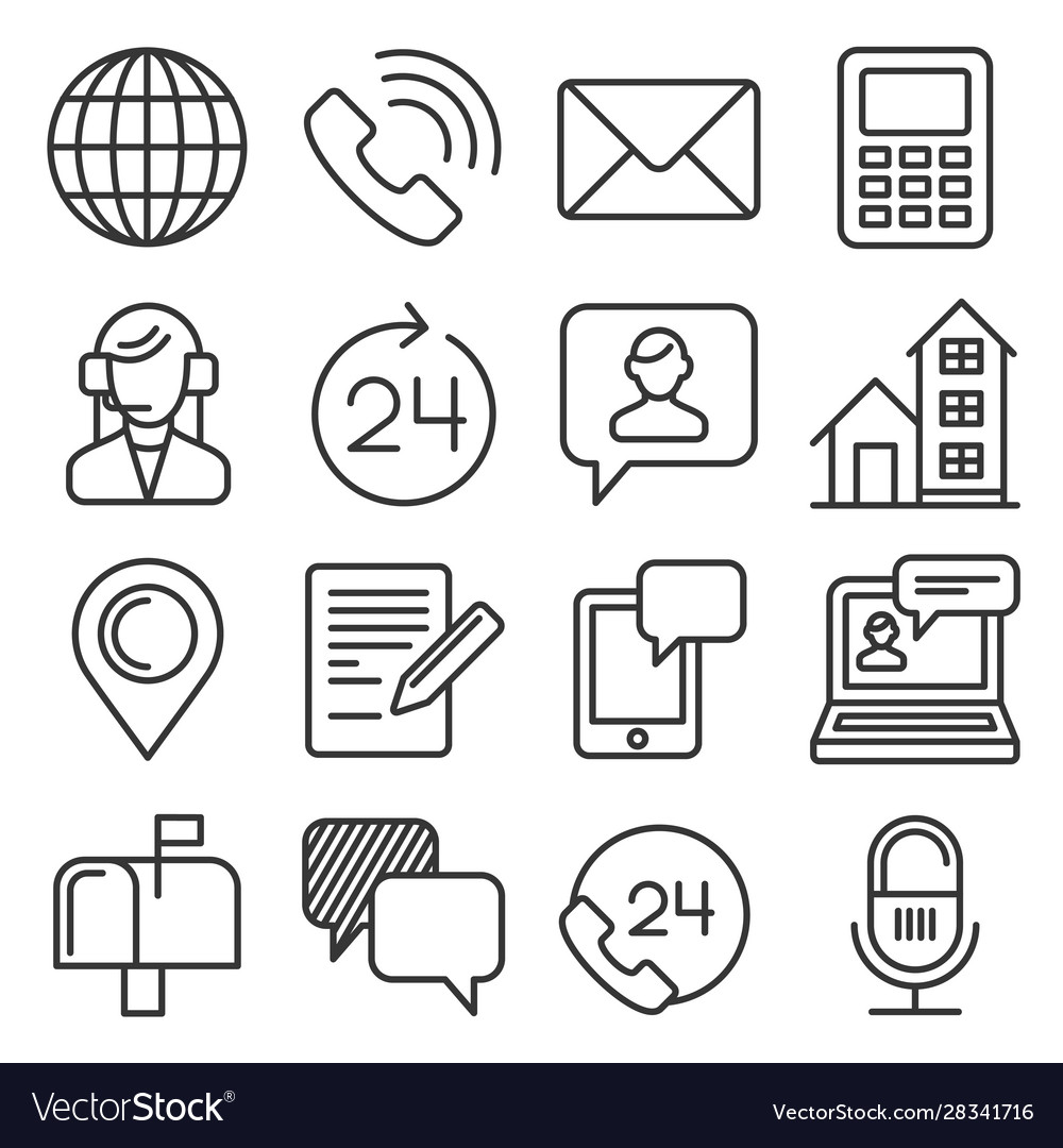 Contact us icons set on white background line