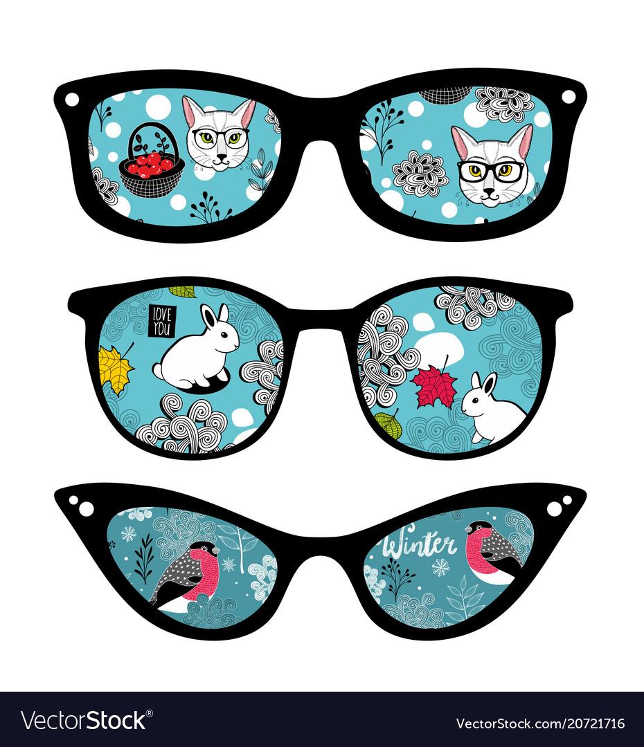Creative set of retro sunglasses with pattern